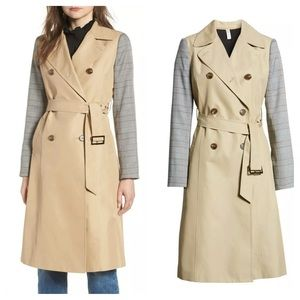 Mural Belted Trench With Plaid Sleeves